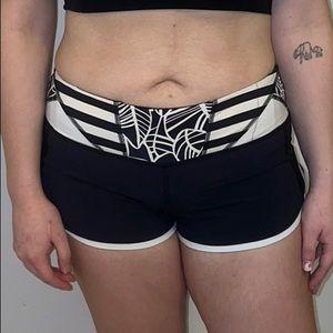 Lululemon black and White Running Shorts